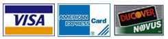 We accept VISA, Discover and AMEX